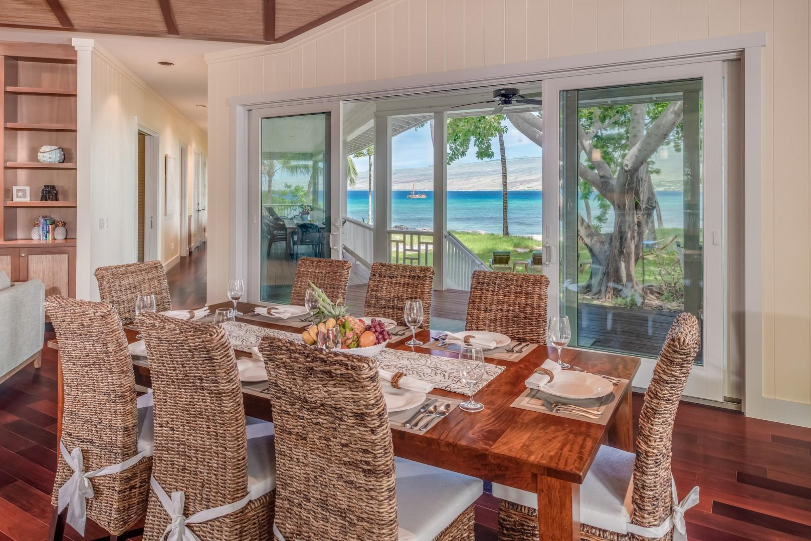 Dining for Eight Open Up to Backyard and Ocean