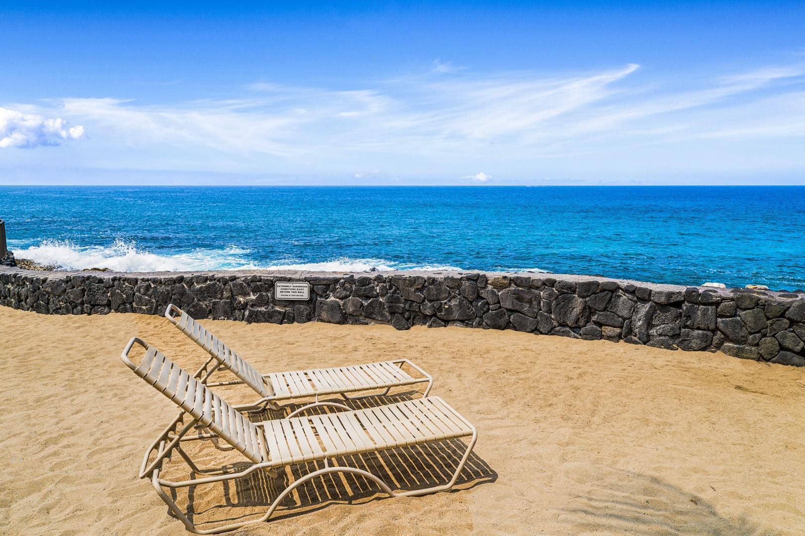 Man made sandy beach area near the salt water pool!
