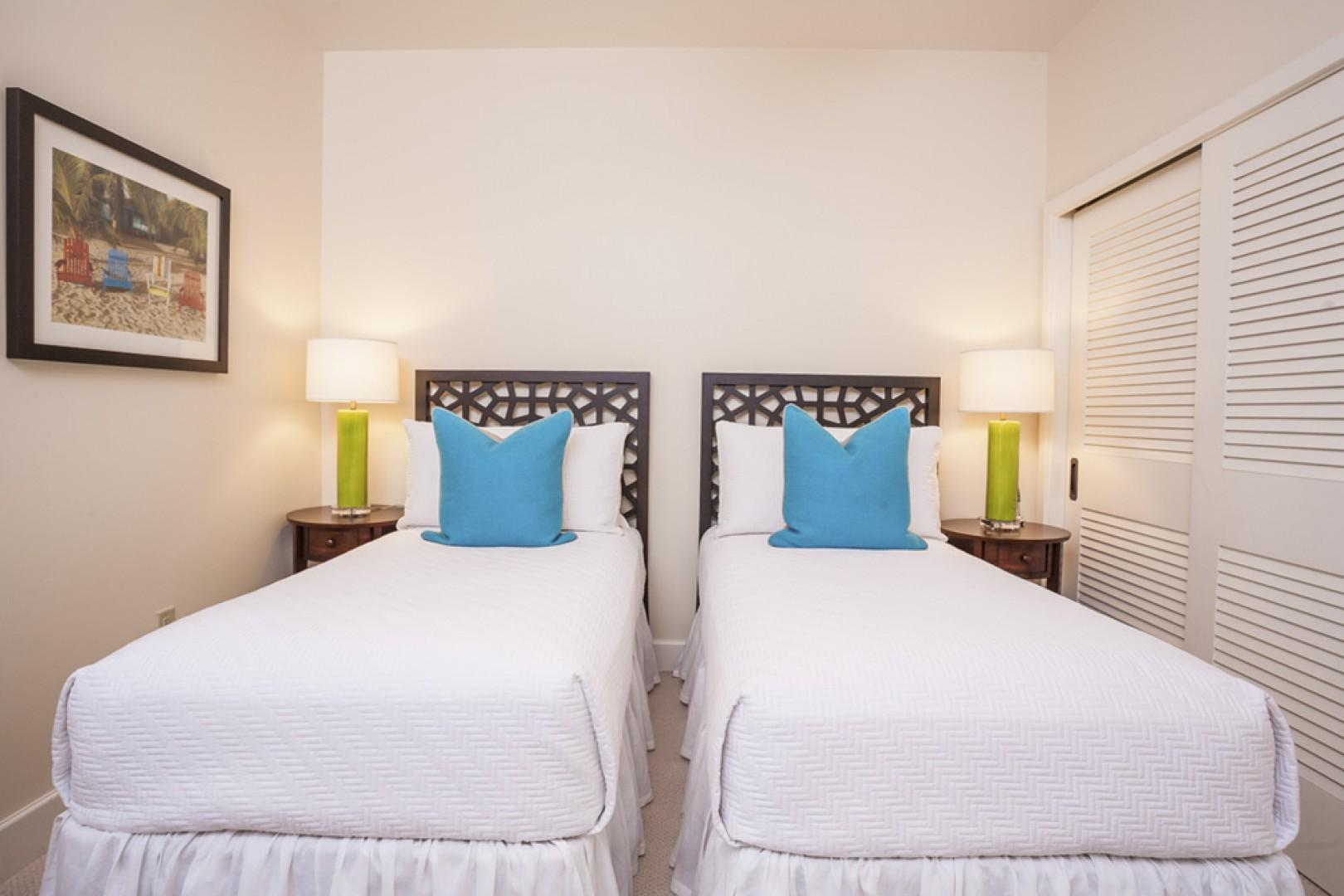 The third bedroom offers the flexibility of two twin beds or one king.