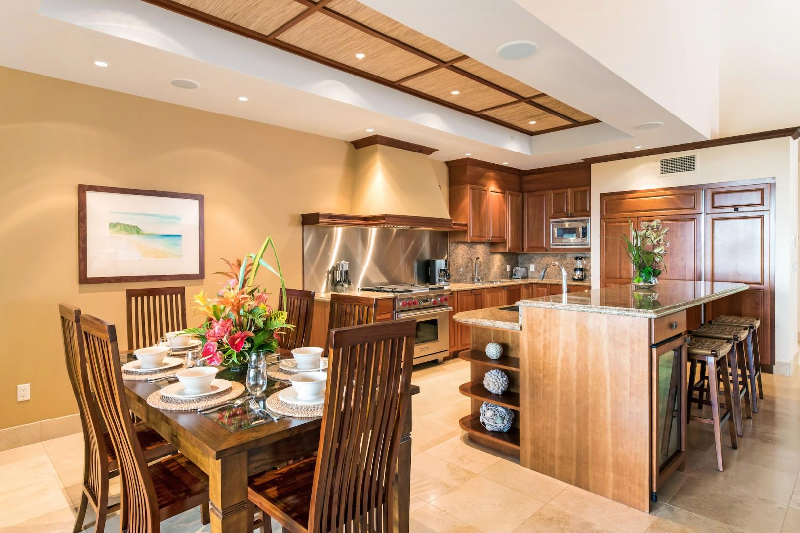 Dining for Six Plus Granite Bar & Seating Between Kitchen and Living Room