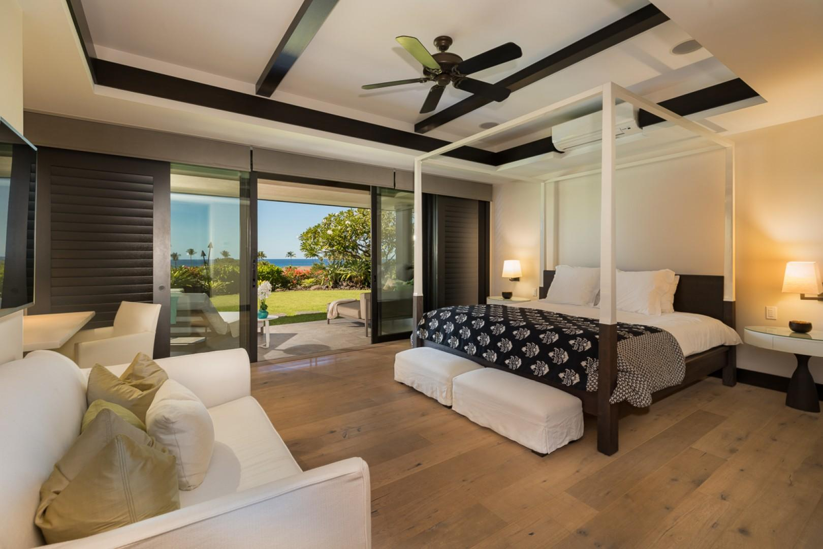 A spacious and beautifully appointed bedroom