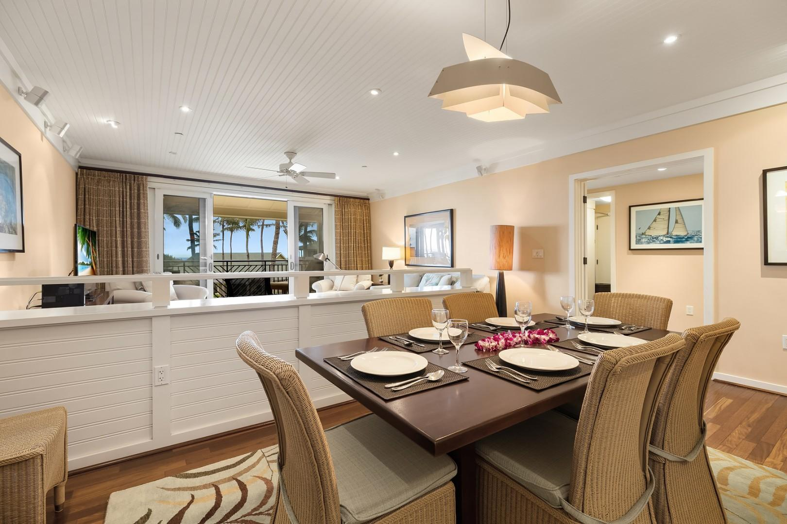 Separate dining area with seating for 6