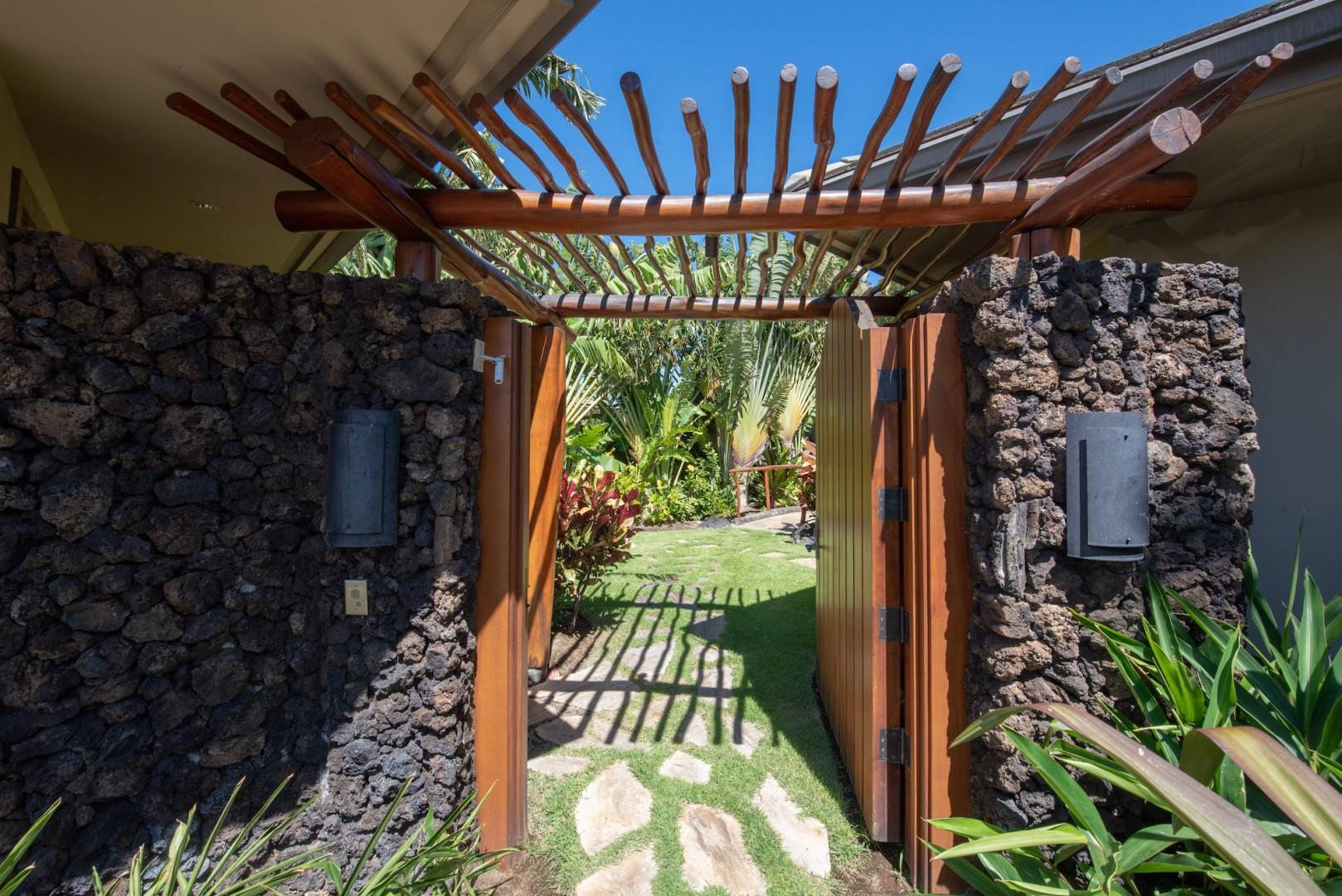 Guava Branches and Ohia Wood Comprise the Gated Entryway into your Private Courtyard