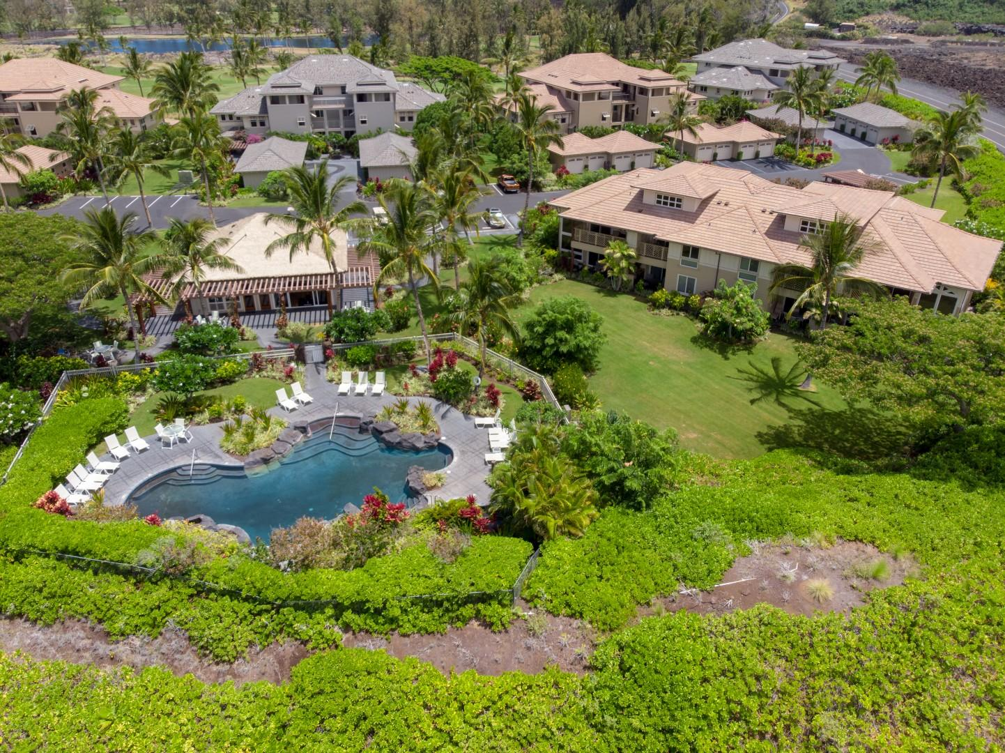 Aerial View of the Villa Showing Close Proximity to the Pool & Fitness Amenity Center