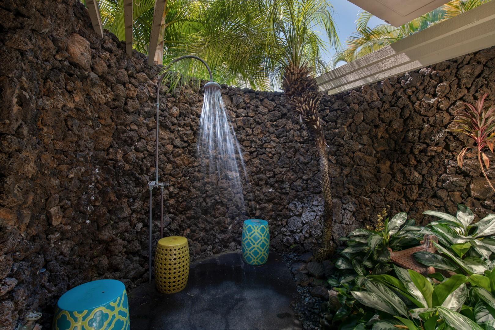 Private outdoor shower - a true tropical treat!