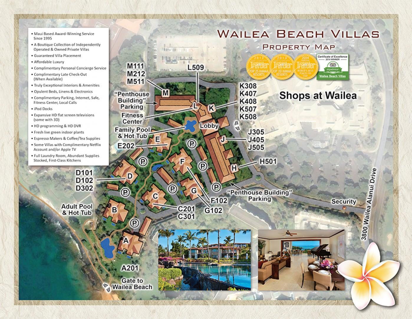 Wailea Beach Villas property map.