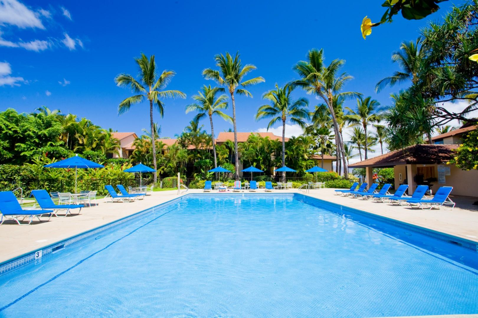 One of Two Large Gated and Heated Swimming Pools and Hot Tubs at Makena Surf Resort. E301 is immediately adjacent to this pool area.