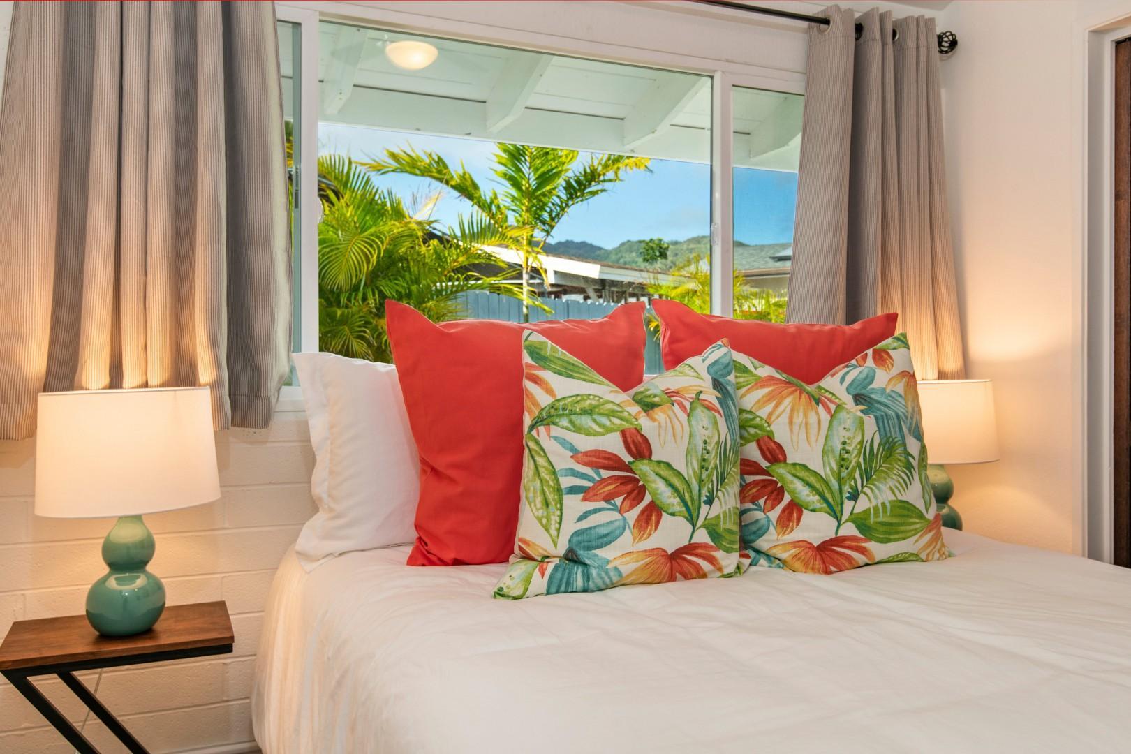 Bedroom 2 - Queen bed, split ac with back yard garden and jacuzzi views.