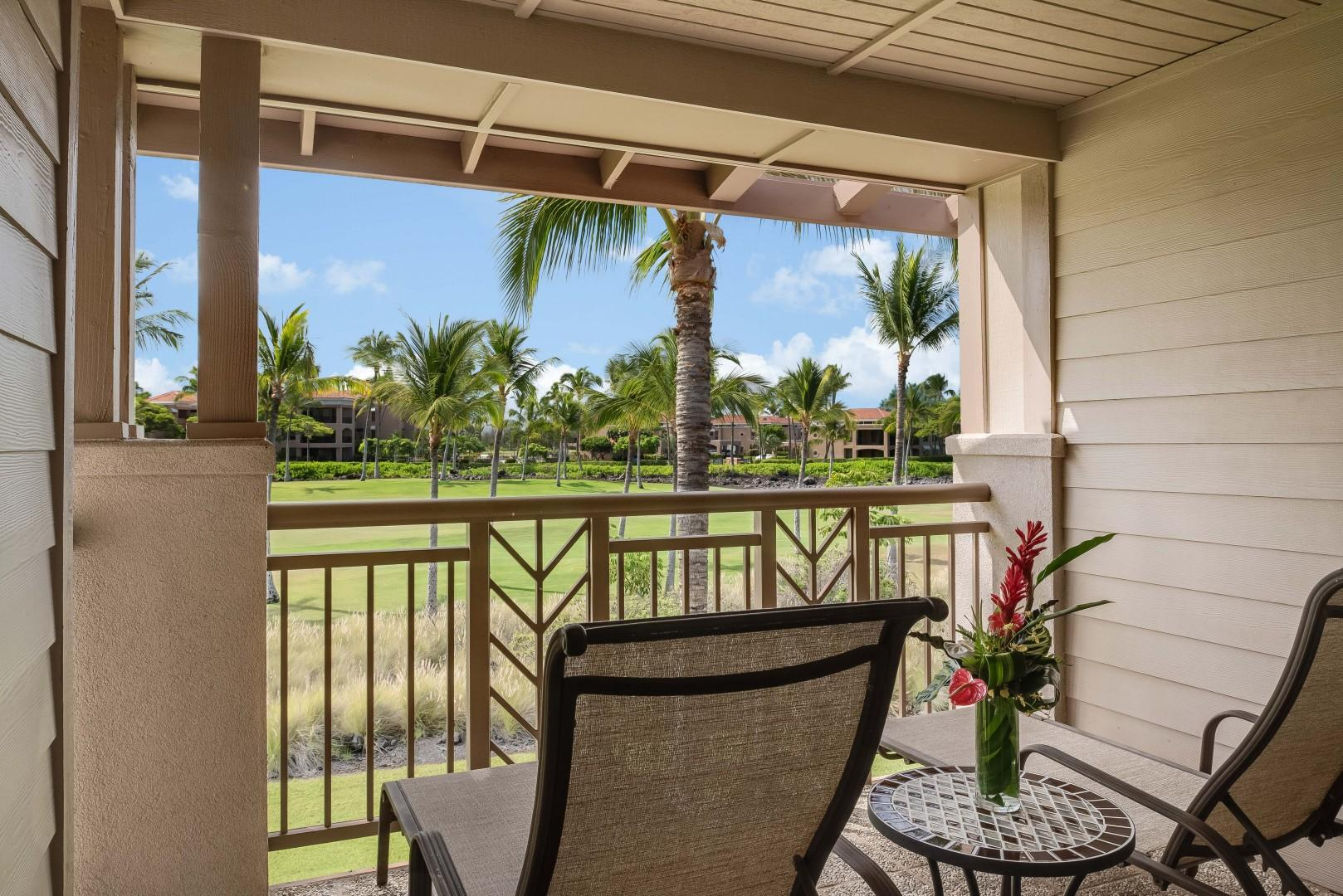 Relax on Your Private Lanai Off the Primary Bedroom w/ Serene Golf Course Views.