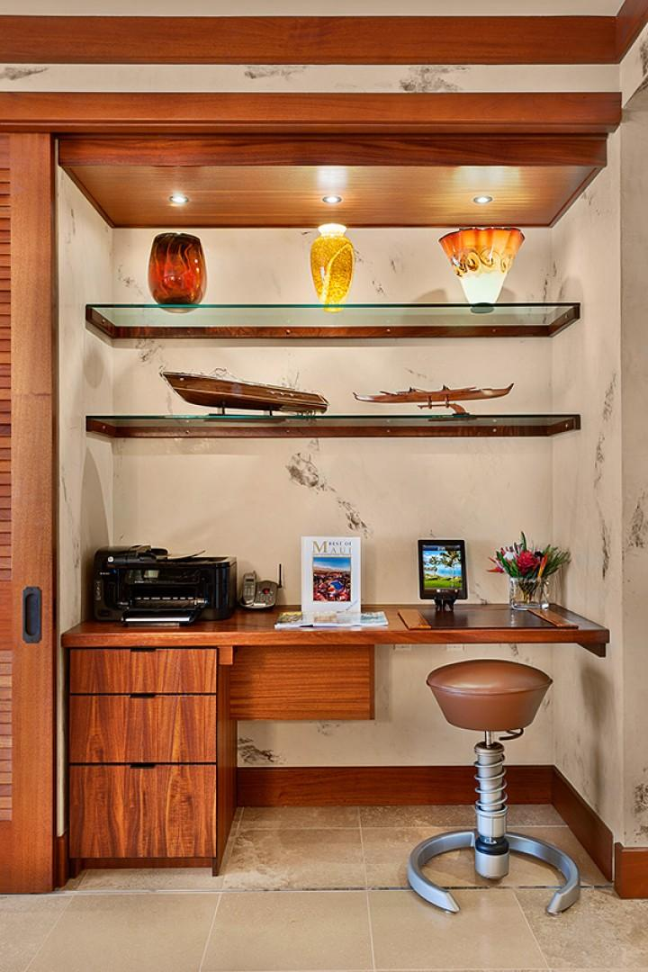The Built-In Desk in the Great Room with an iPad controller for the Great Room Audio-Visual features, more original Art and Artifacts, Office Supply, Printer, Wired and Wi-Fi Internet Service is Complimentary