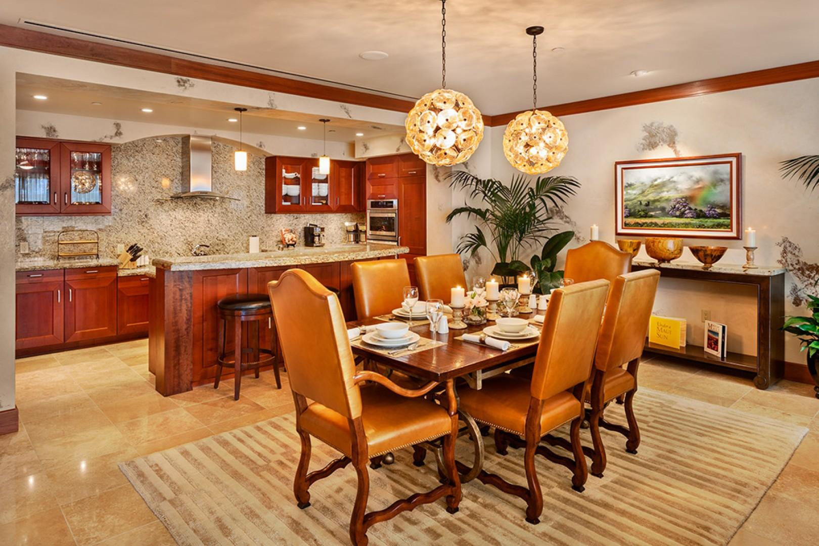 A201 Dining Table. This table seats 6 guests. Murano Glass Ceiling Chandeliers, Original Art, Pacific Rim and Tropical Artifacts, Gallery-Quality Decor