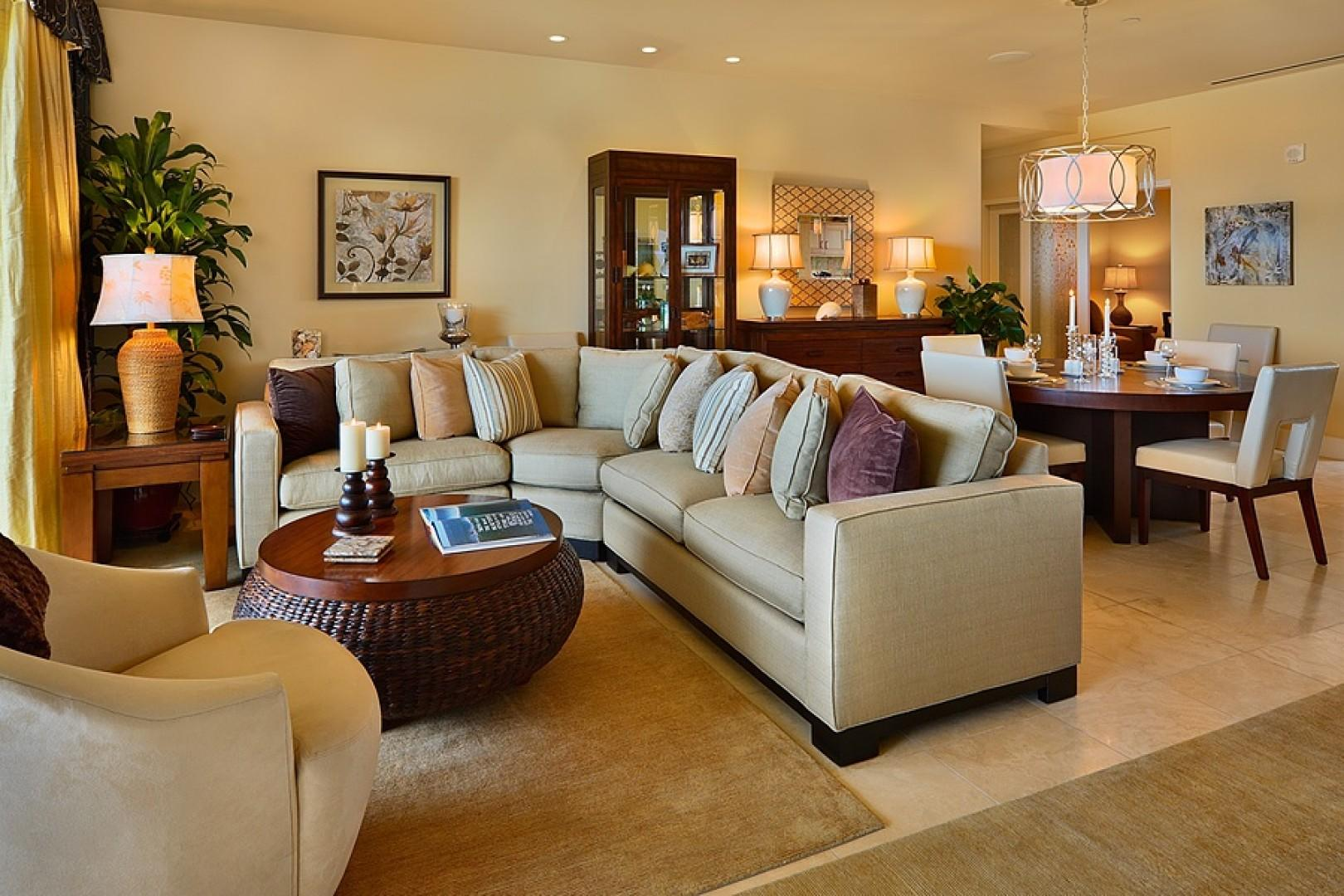 Simply beautiful interior decor - one of two seating/lounging areas in Sandy Surf K508 Villa