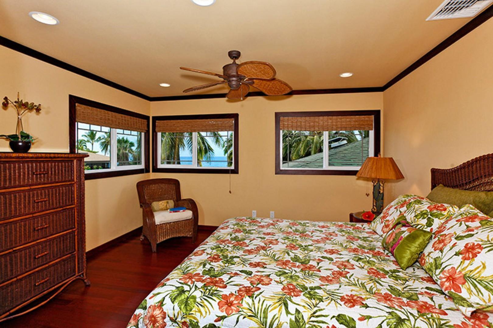 Upstairs queen bedroom one.
