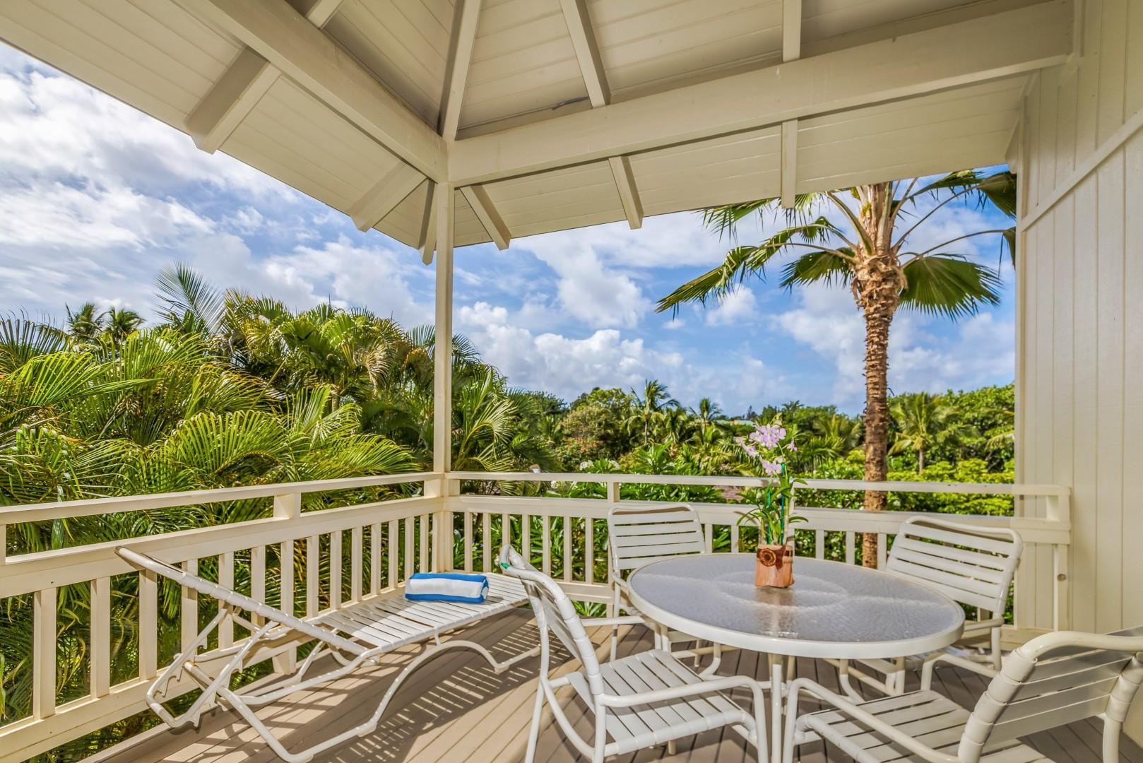 Lanai with tropical views