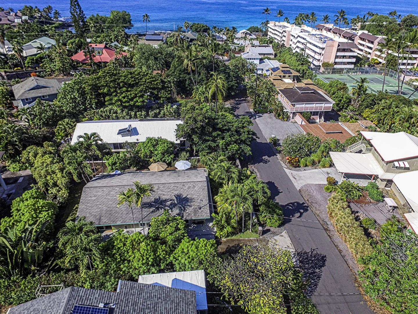 Aerial view of the home showing Magic Sands Beach