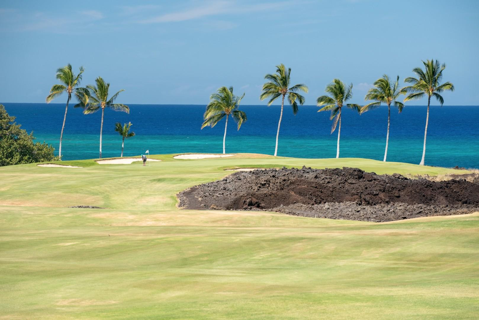 Beautiful blues and greens - ocean and golf course views from your private lanai!