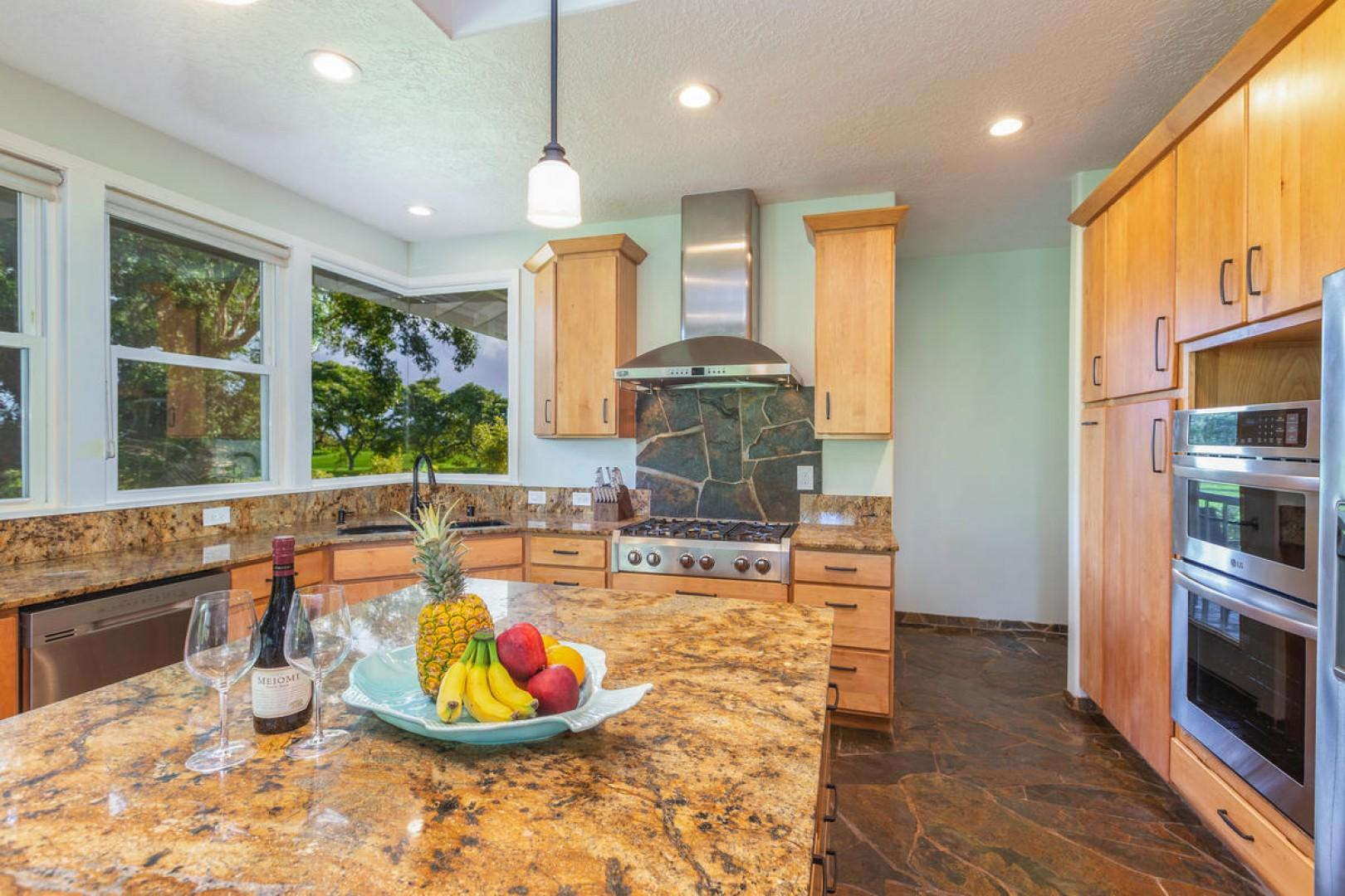 The kitchen has stainless steel appliances and quality finishes