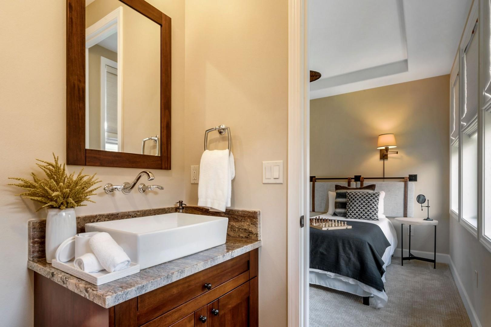 Ensuite is steps from the sleeping area
