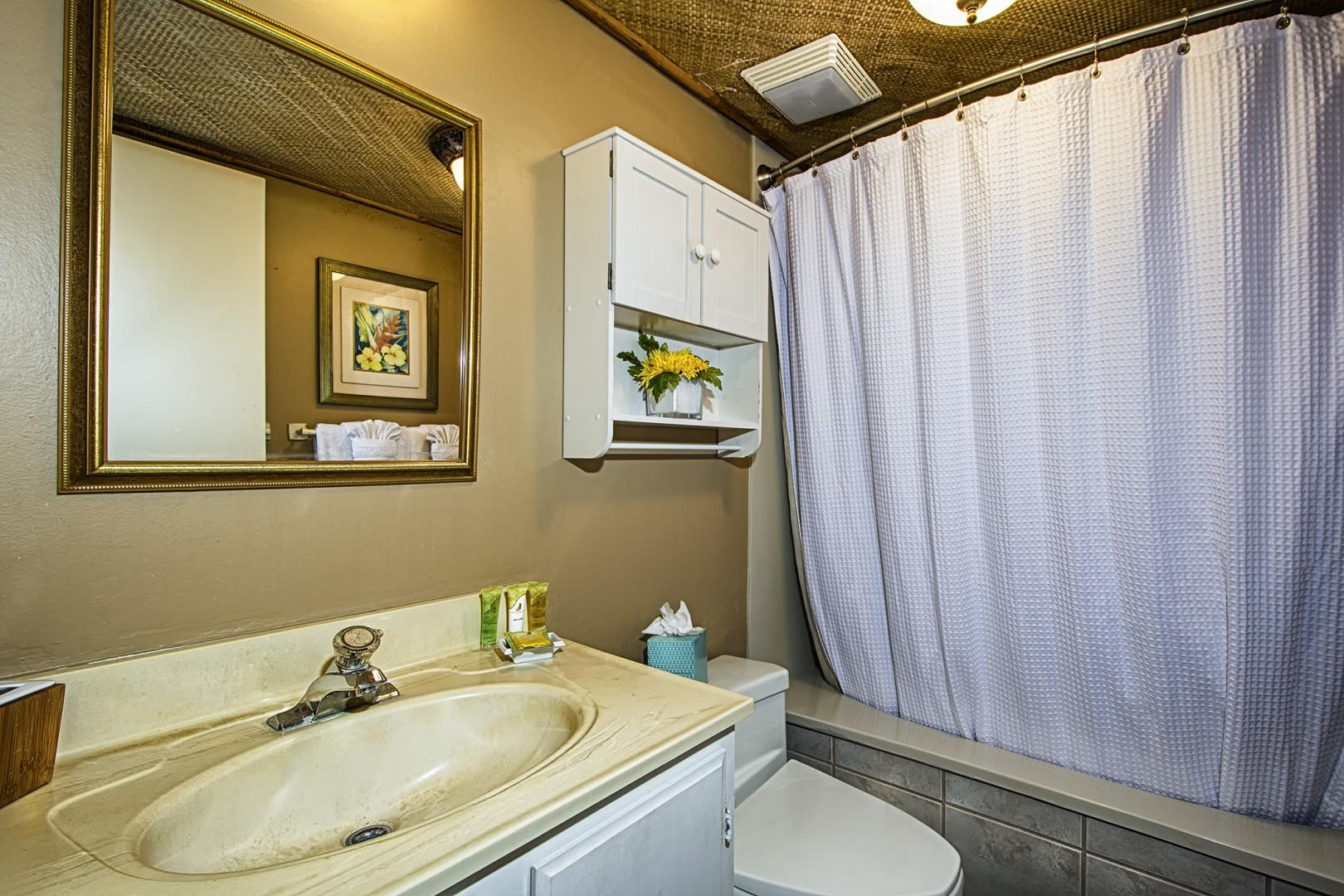 Guest bathroom featuring tub shower combo