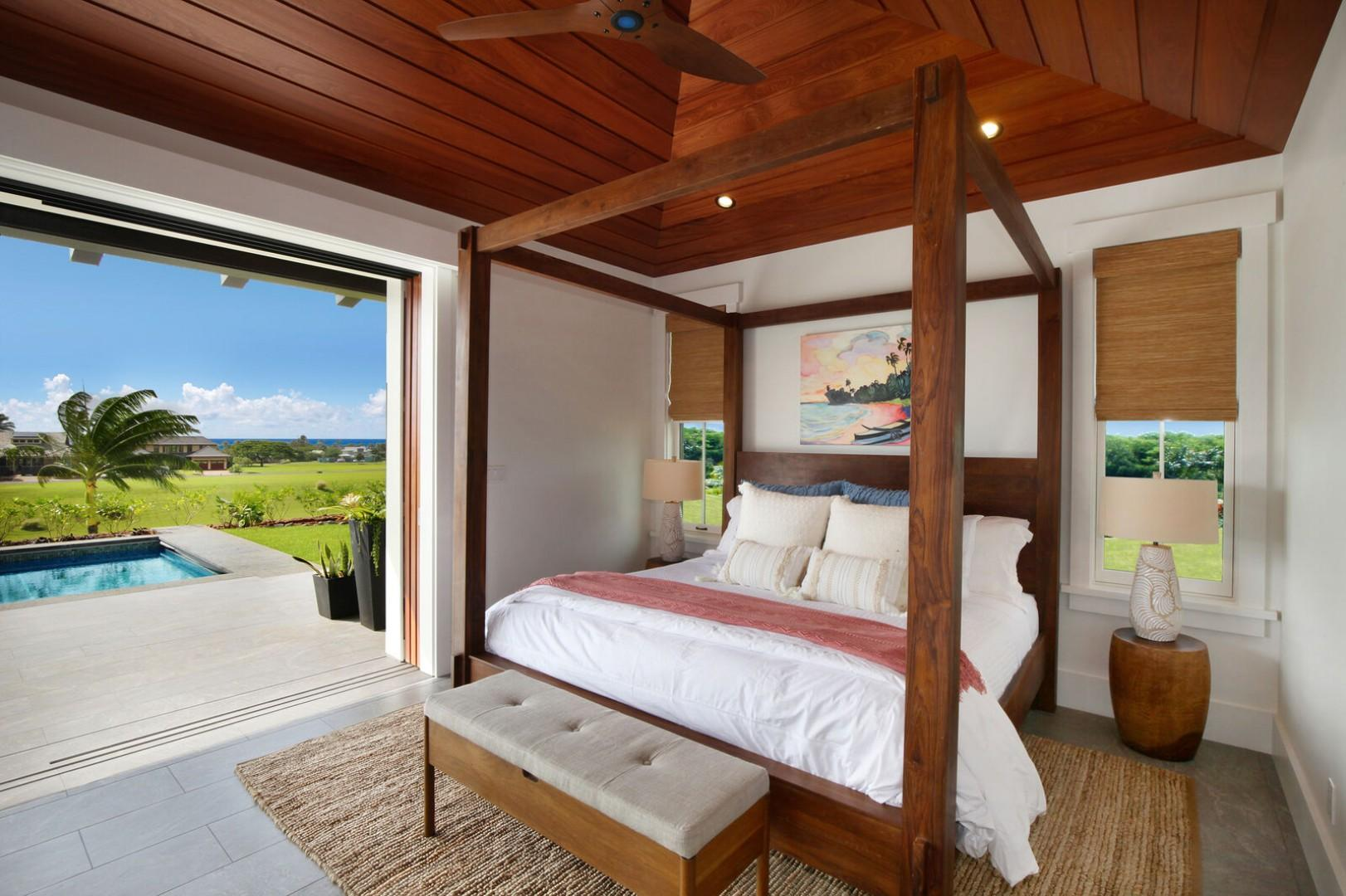 Master bedroom opens to lanai with ocean views
