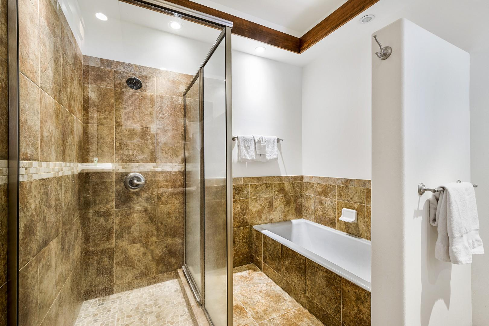 Standing shower and soaking tub