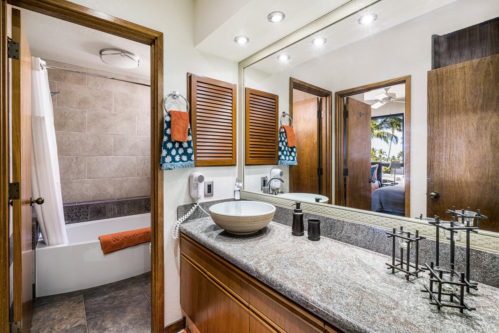 Guest bathroom easily accessible from Guest bedroom