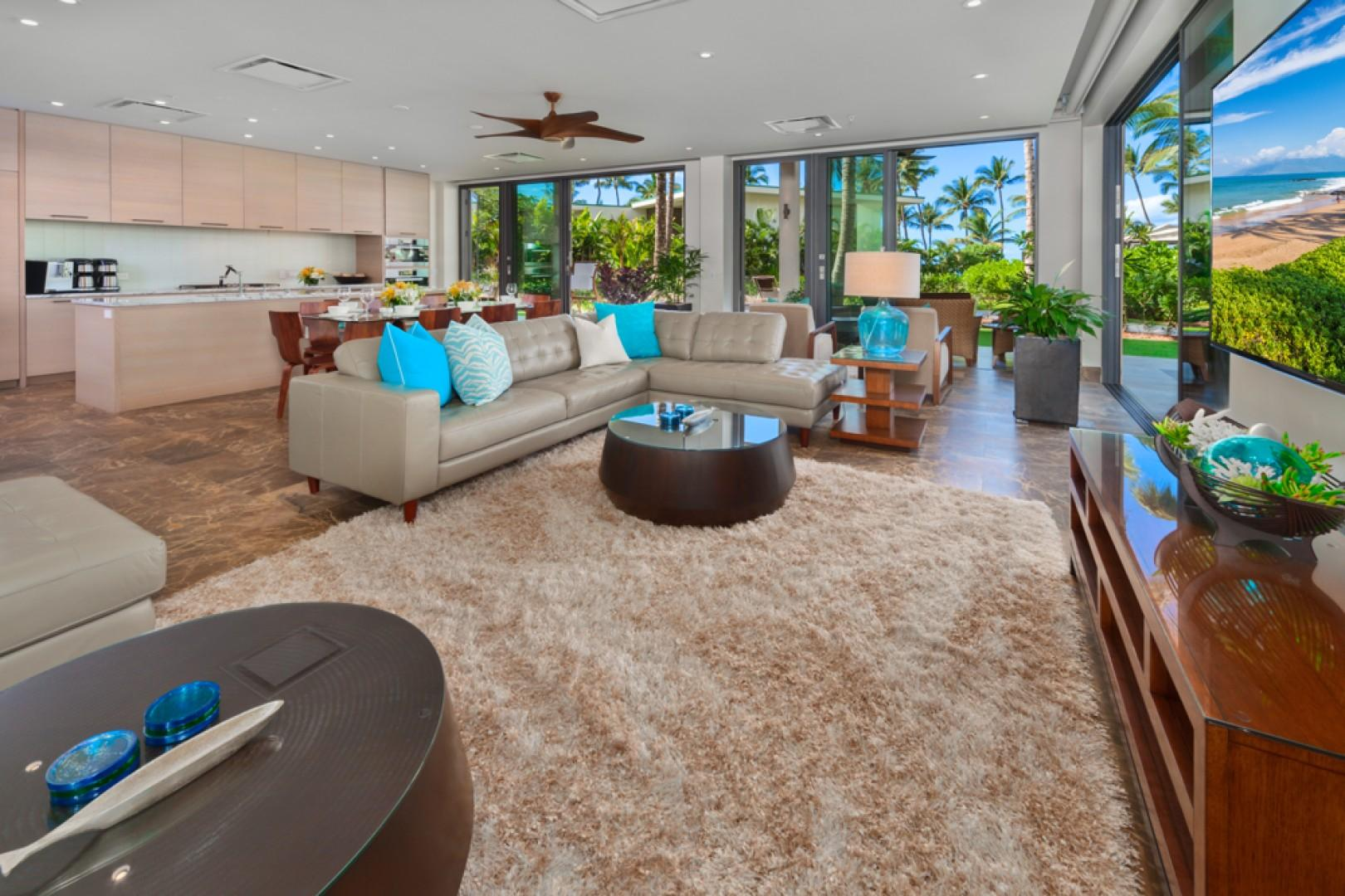 SeaGlass Villa 810 at Andaz Maui Wailea Resort - Spacious Dining and Living Space with Leather Sofas, Large Screen HD TV and Surround Sound System
