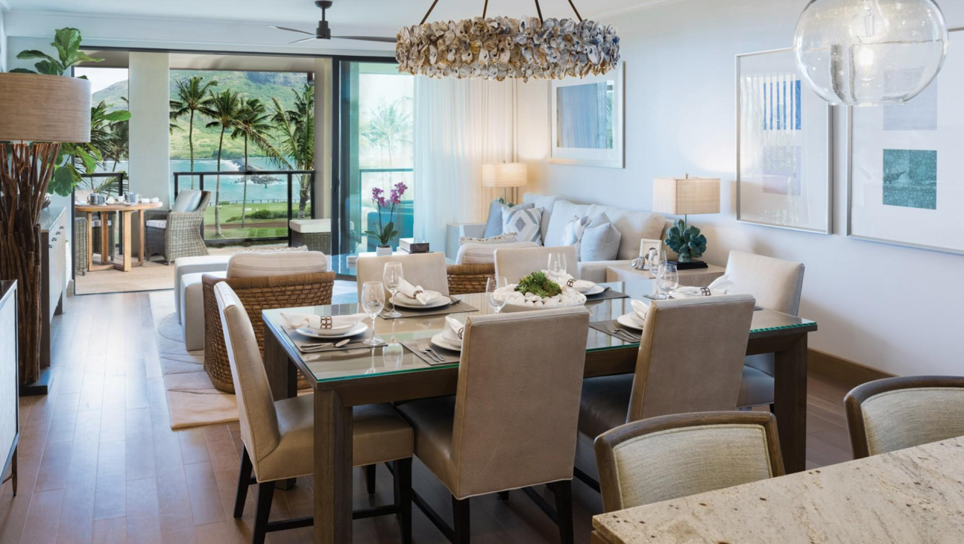 Open-concept living spaces and walls of sliding glass doors allow for true Hawaiian indoor-outdoor living.