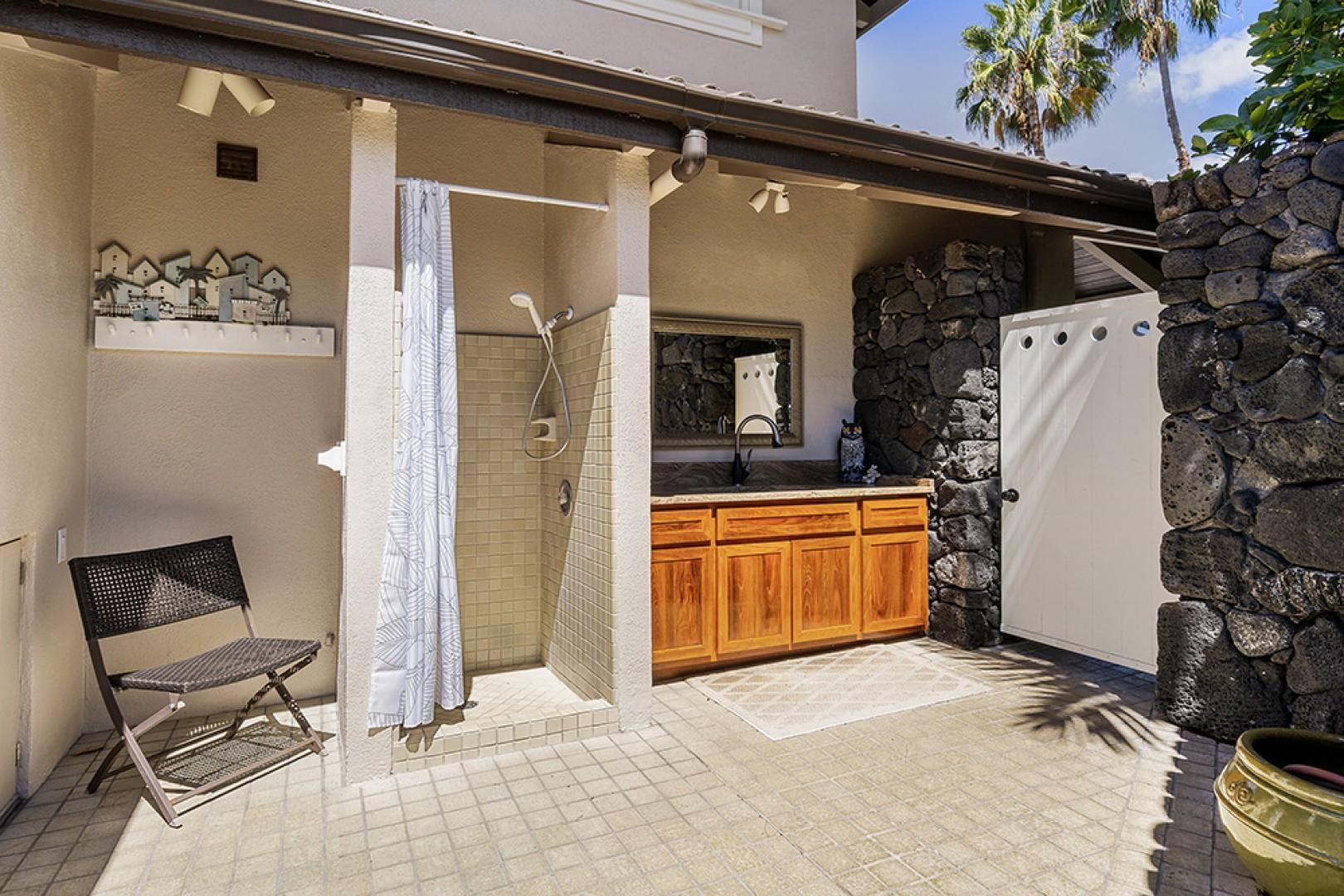 Out door shower and Laundry sink area