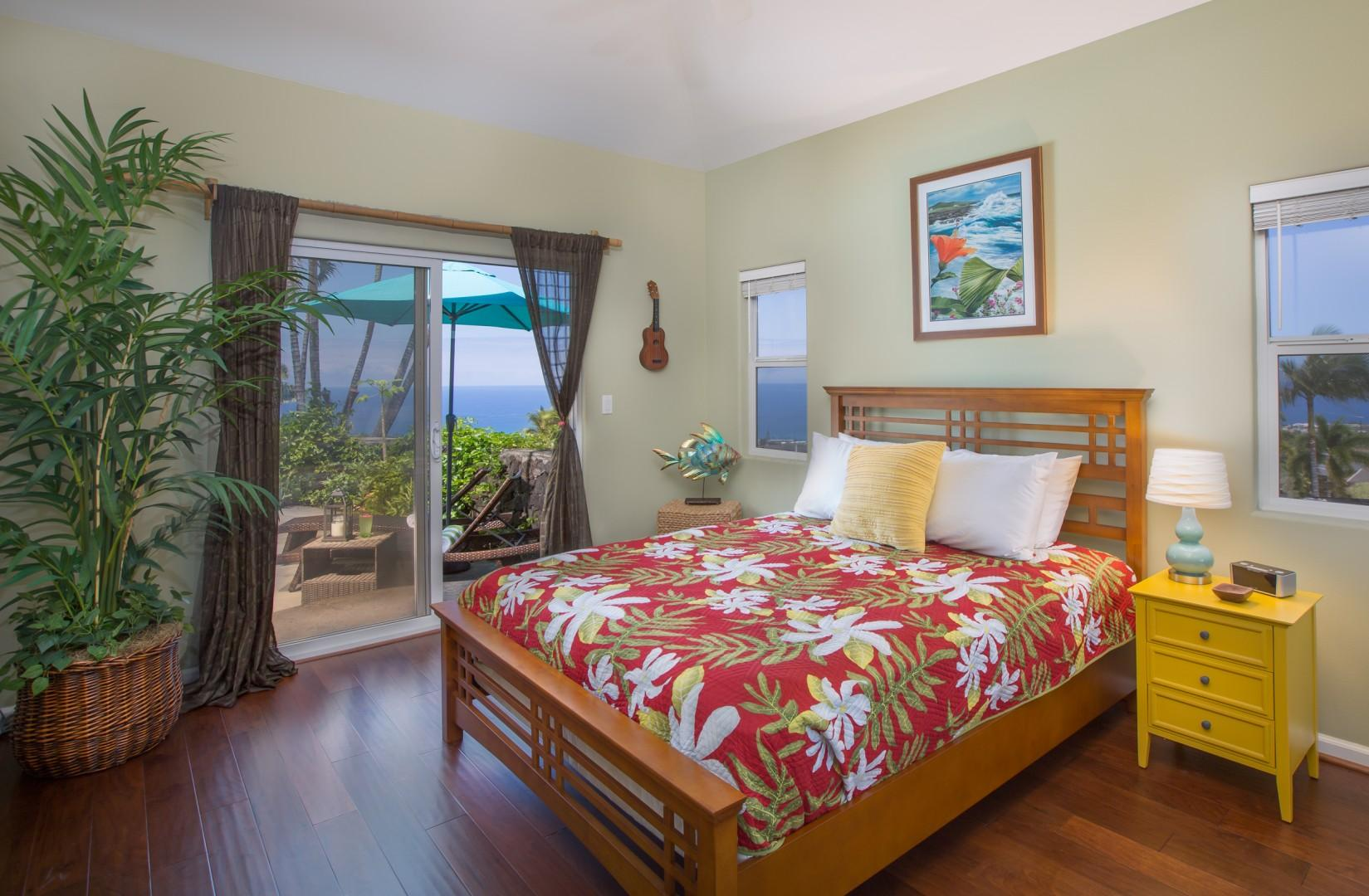 Second bedroom, with access out of glass sliders onto back lanai by the pool.