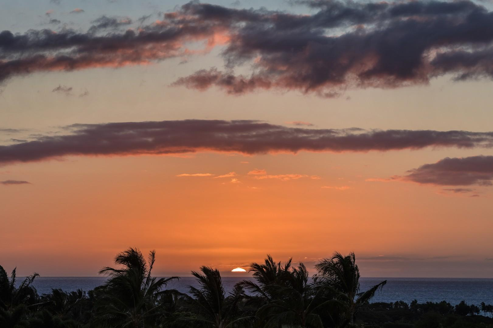 """Perfect location to watch for the famed """"green flash"""" right as the sun dips past the horizon."""