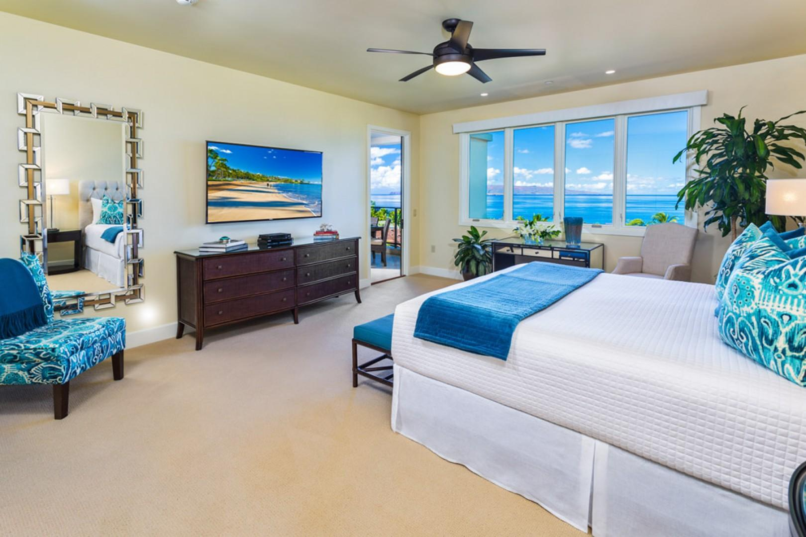 J405 Sea Breeze Suite Ocean View Master Bedroom with Direct Ocean Patio Access, King Bed, Desk, Seating, Private Bath, and All New State of Art Entertainment System