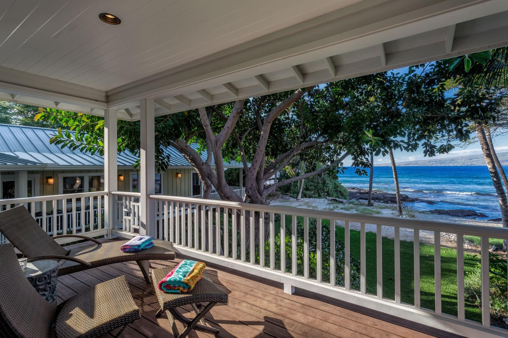 Alternate View of Ohana Guest Cottage Lanai Under the Eves of the Majestic Banyan Tree.