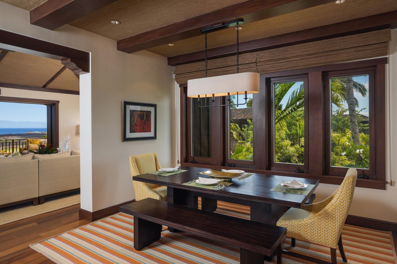 Formal dining room with seating for 6, adjacent to the kitchen and great room.