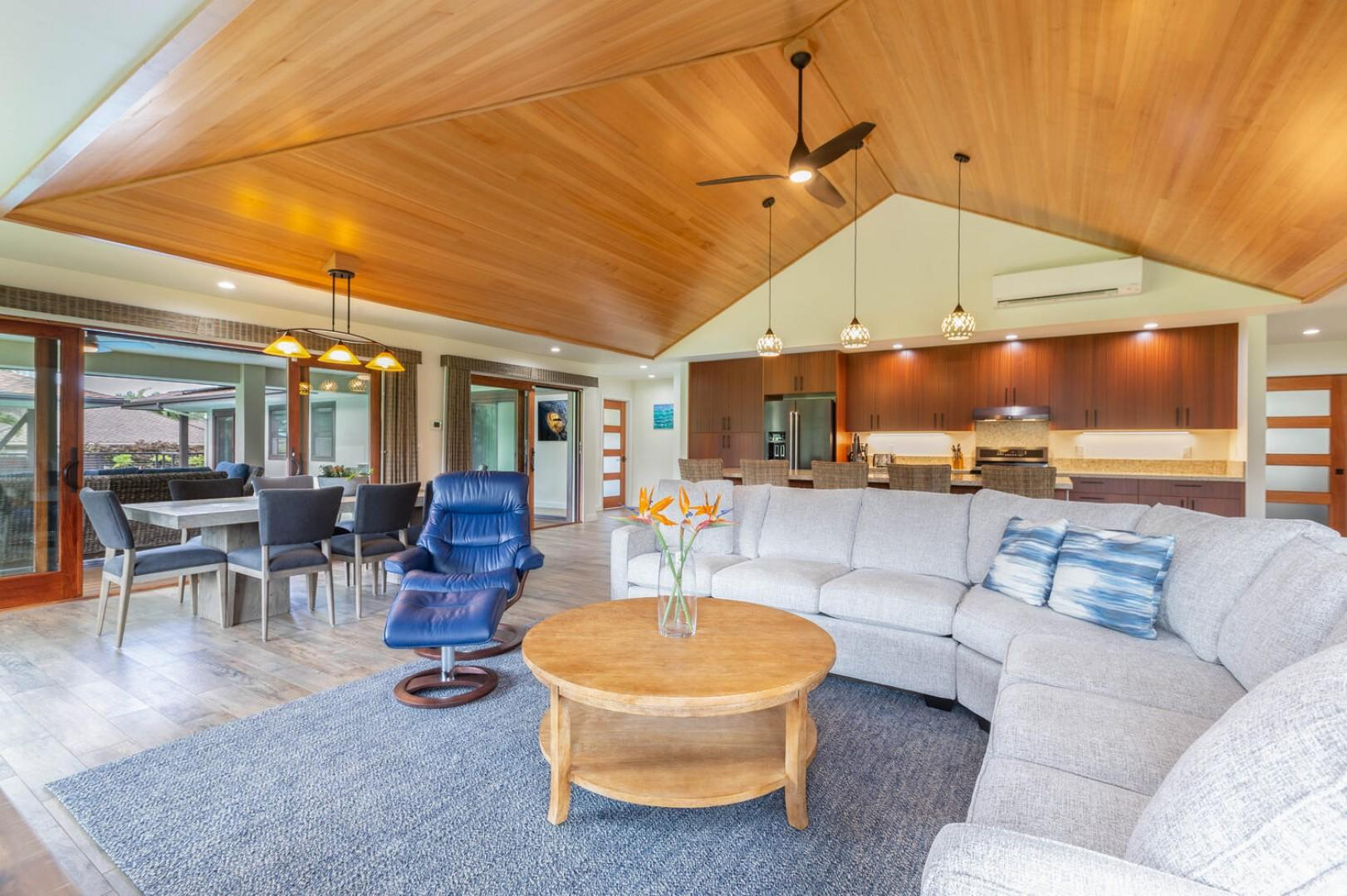 Living area with vaulted ceilings