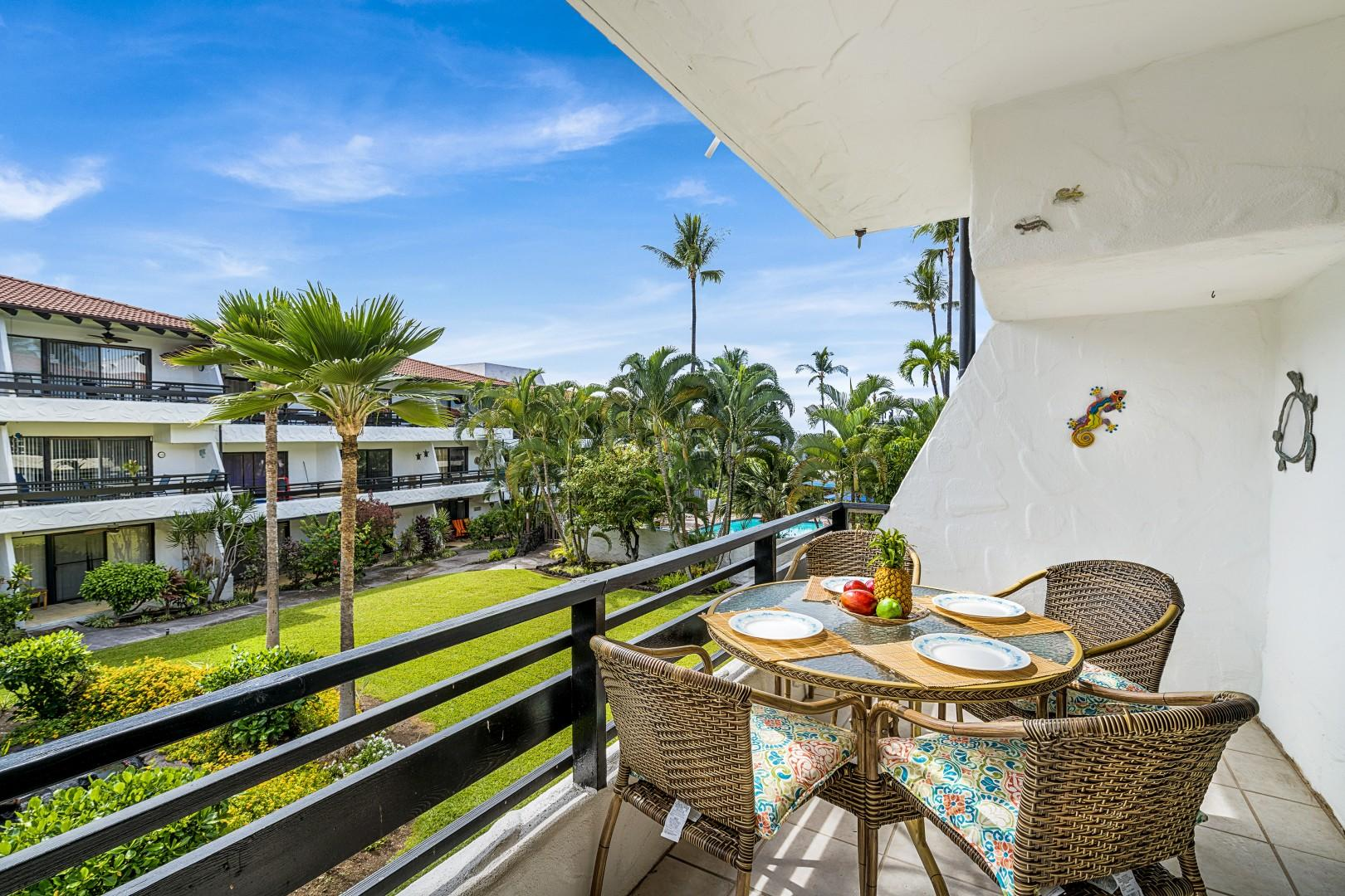 Lush tropical landscaping from your Lanai