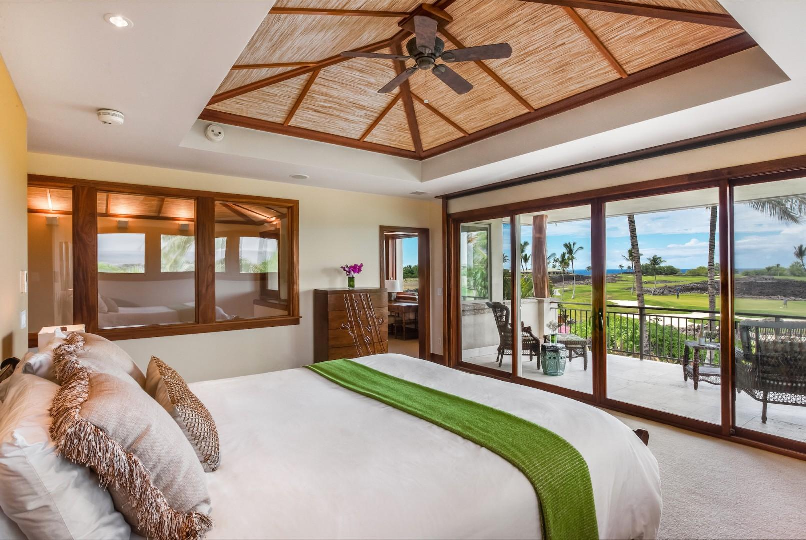 Upstairs Master Commands the Entire Second Floor w/ Separate Office Space w/ Twin Daybed, Electronic Pocket Doors Open to Private Lanai Overlooking Pool Garden, Golf Course and Out to Ocean