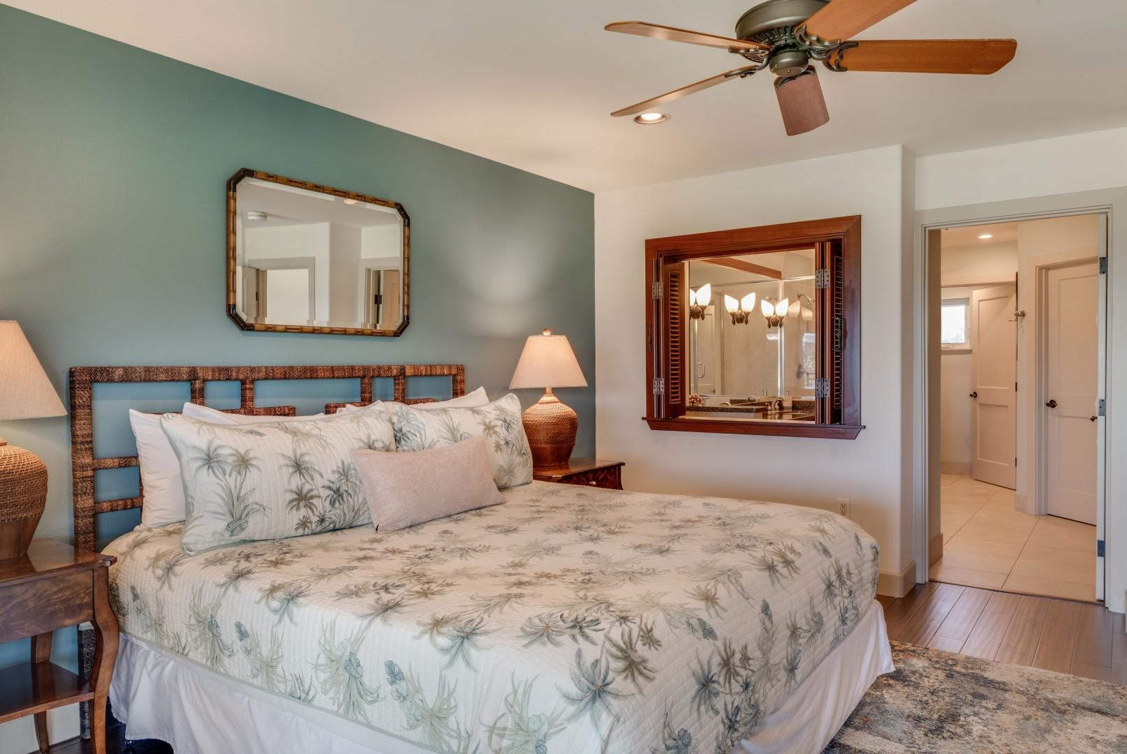 Master bedroom w/ spacious ensuite bath & peek-a-boo window