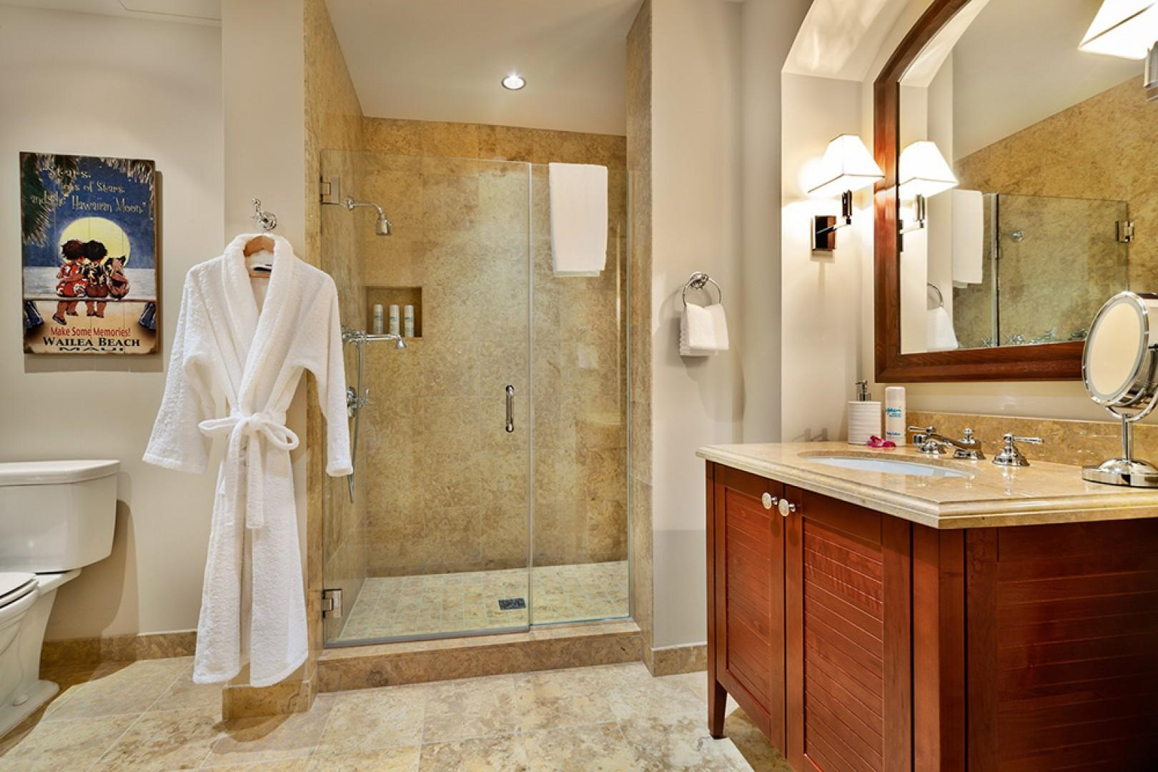 G102 Floral Gardens Third Bedroom En-Suite Bath with Glass Shower, Fluffy Towels and Bathrobes, Hair Dryer, Scale, Make-Up Mirror
