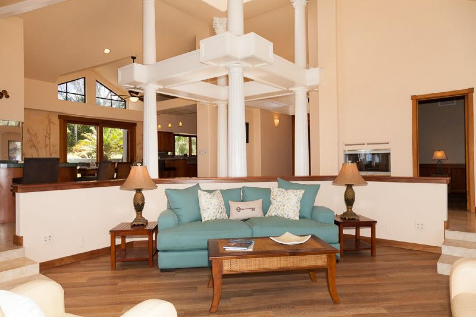 Elegant decor and comfy seating in the great room