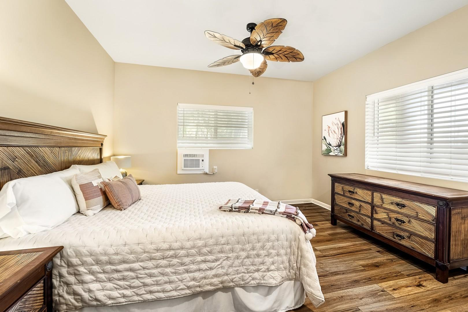 Guest bedroom equipped with King bed, and  A/C