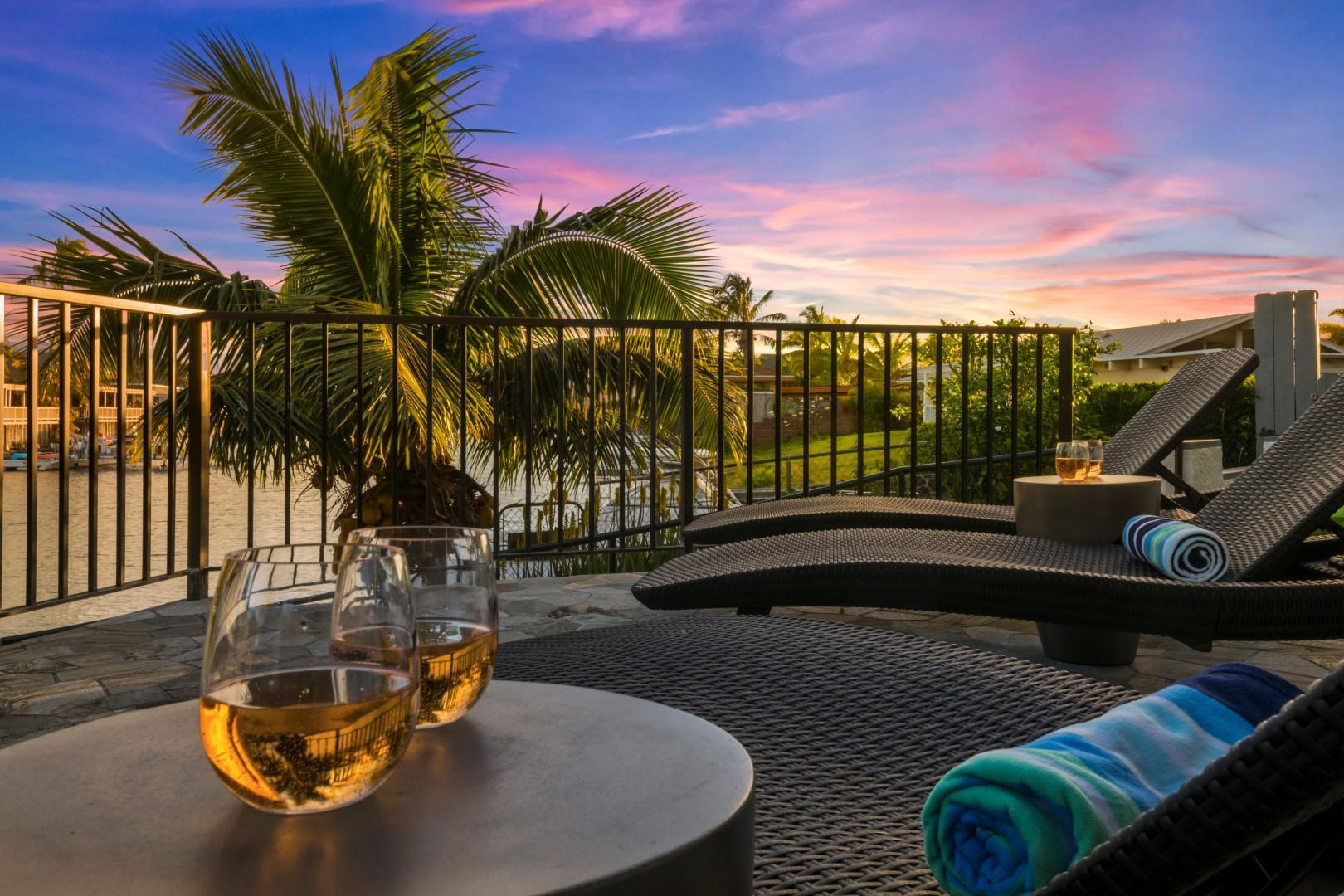 Check out the sun deck with marina views. Perfect spot to catch the sunrise and sunset sky!