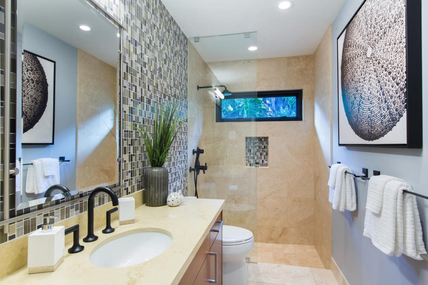 Beautiful shared bath for bedrooms three and four.