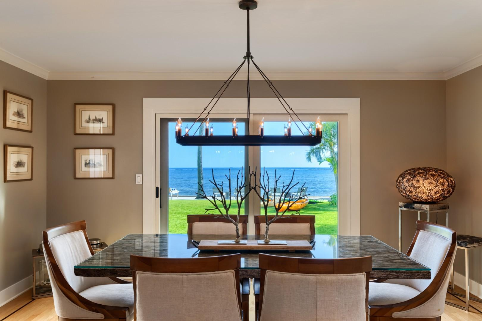 The dining room is directly in front of the ocean, for maximum views during dinner.