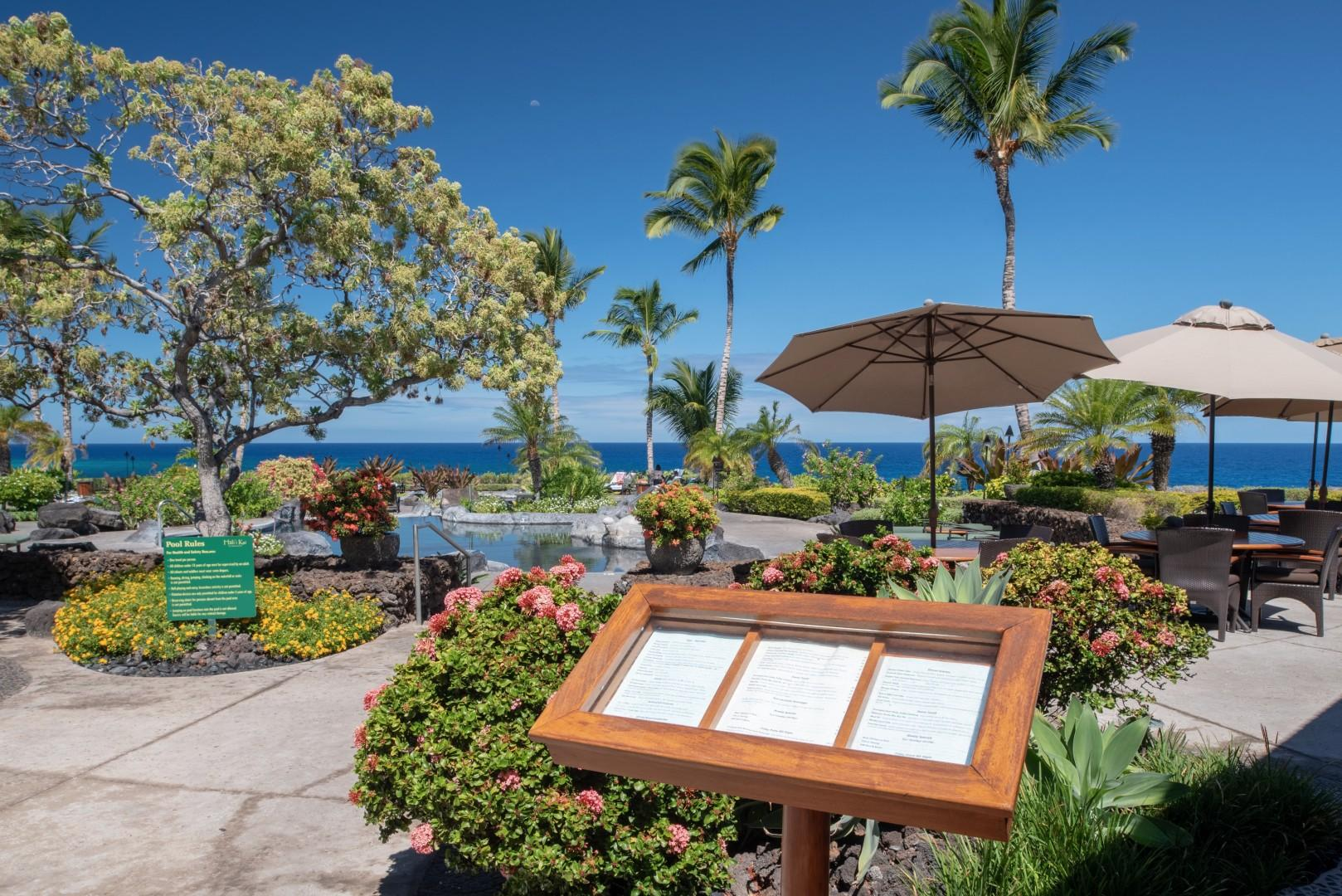 Attractive menu at the Hali'i Kai Ocean Club Bar & Grille, one of the only private restaurants on the island.
