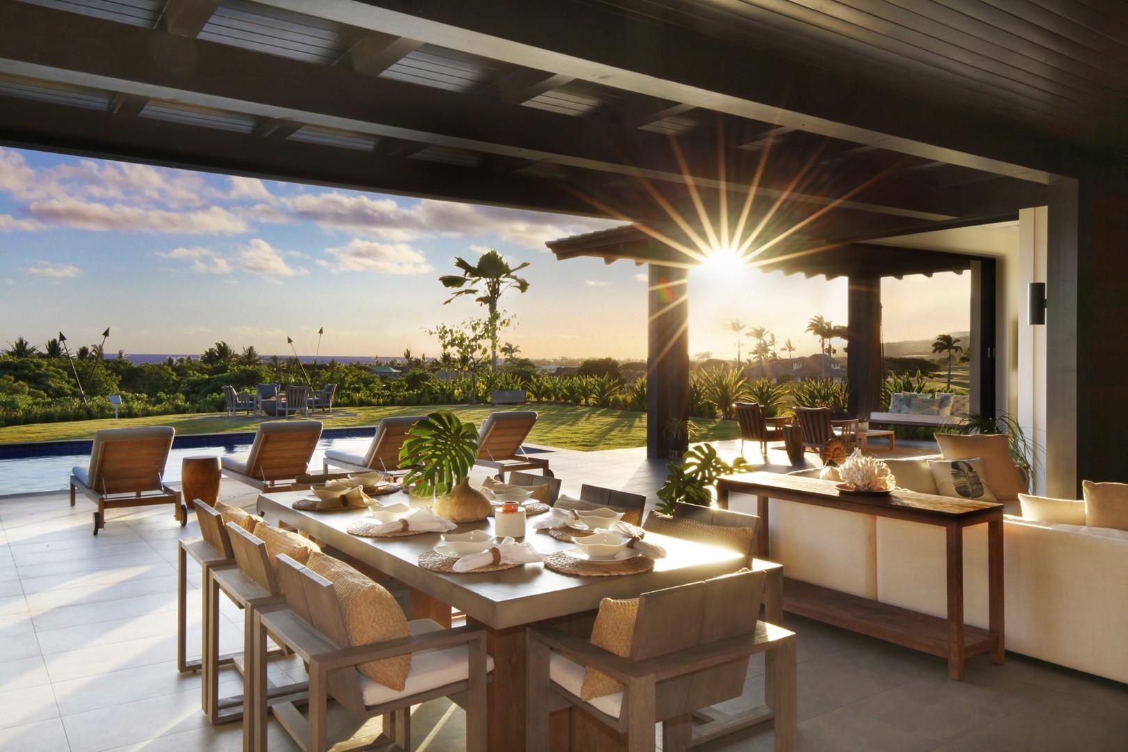 Outdoor living space with beautiful ocean and sunset views.