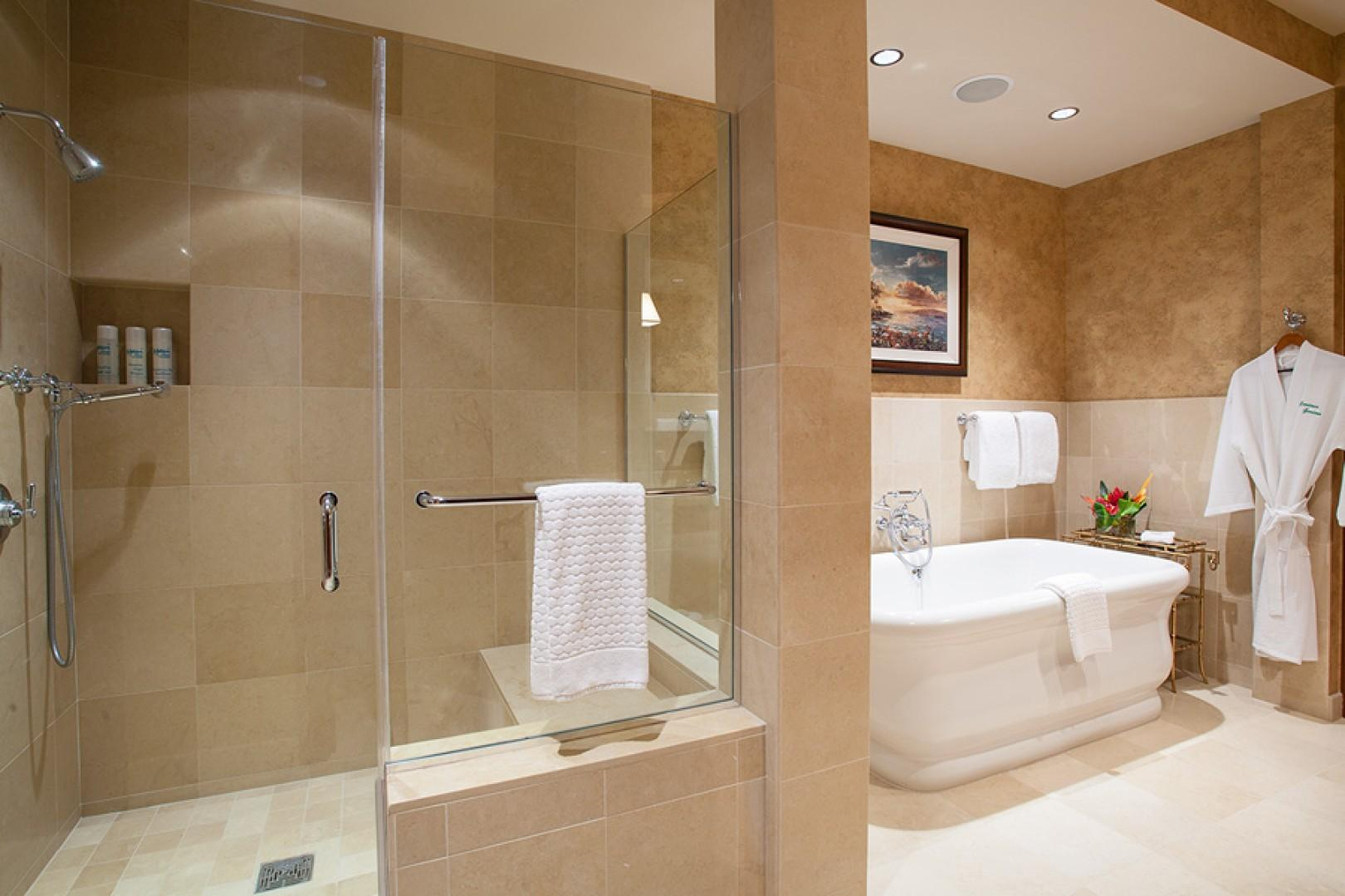Master bath, with deep soaking tub and separate glass shower.