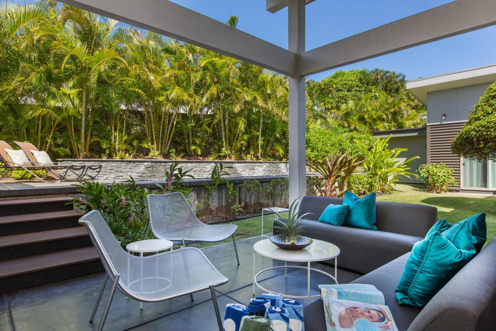Back yard with covered lanai