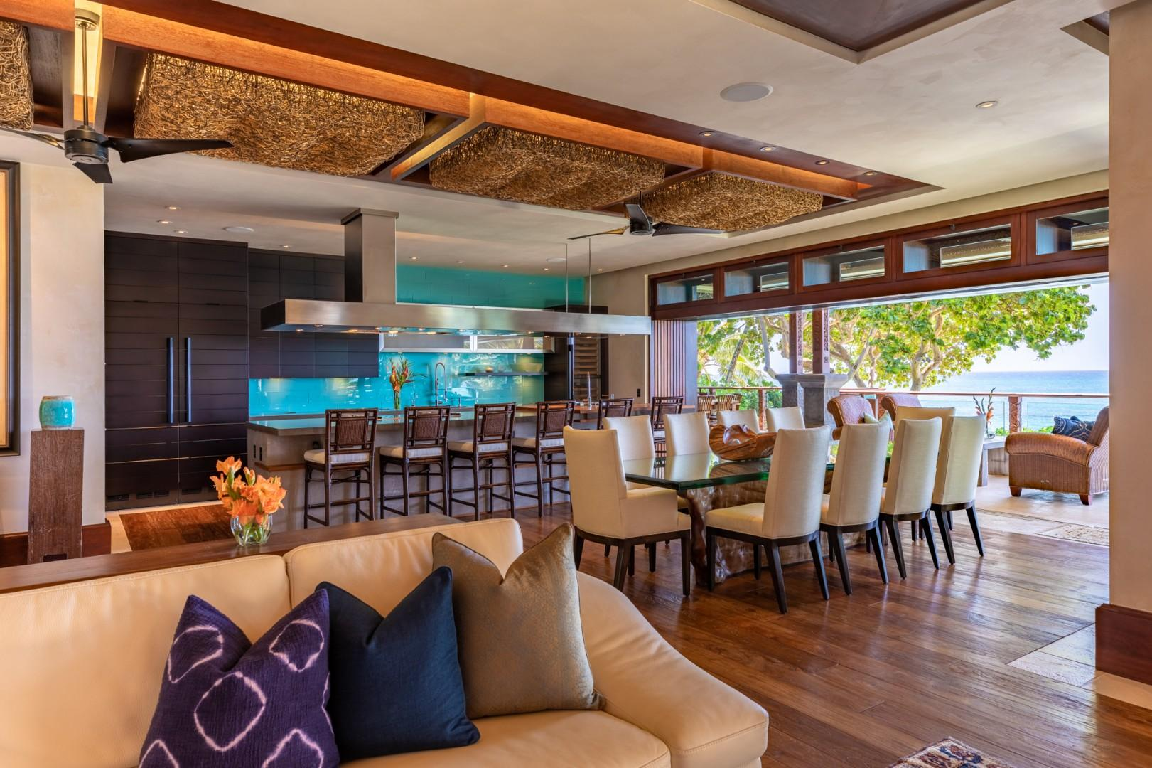Living Room flows into Dining & Kitchen