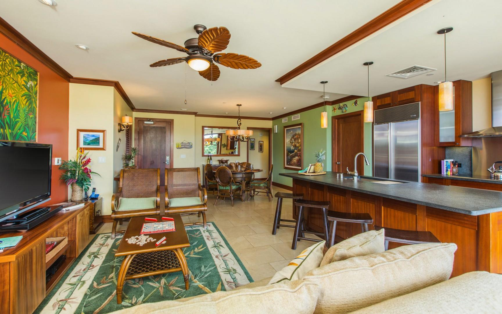 Open concept kitchen, living and dining areas